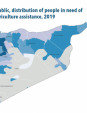 Map 61 The Syrian Arab Republic, distribution of people in need of food security and agriculture assistance, 2019